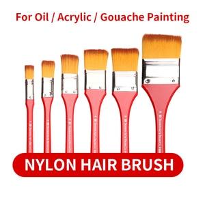 Image 2 - 6Pcs Nylon Flache Kopf Schrubben Malerei Pinsel Set Mix Größe Lange Griff Öl Farbe Acryl Wand Malerei Pinsel Kunst liefert
