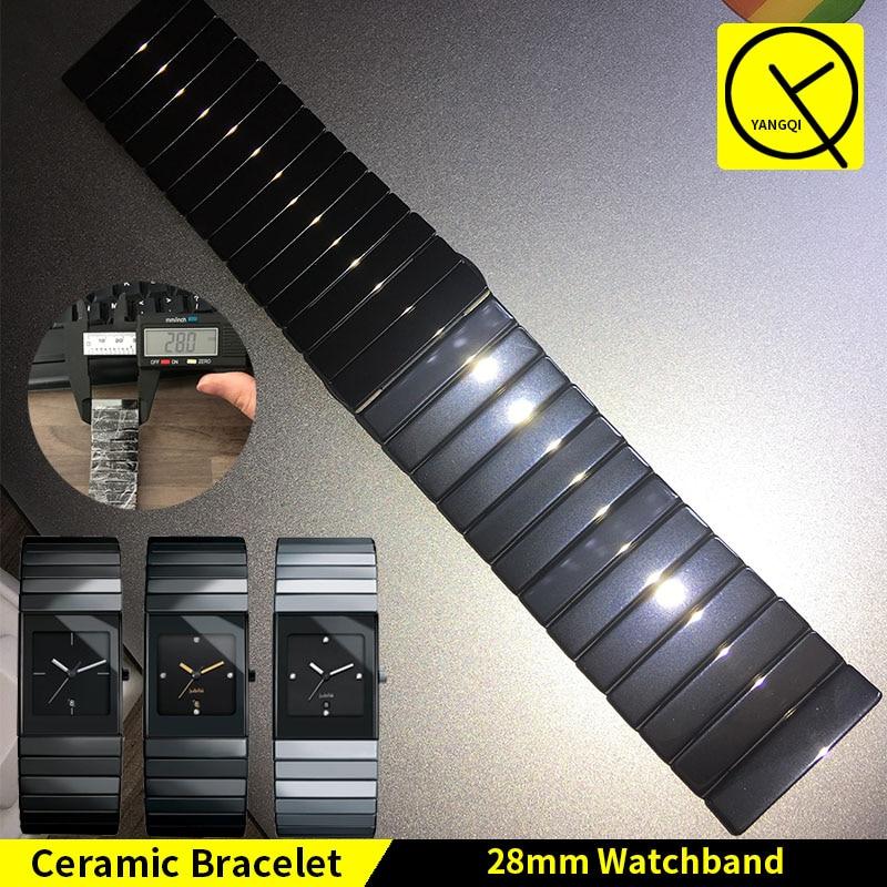 YQ Ceramic Watch Bracelet Butterfly Buckle Strap for Rado Ceramica Series Man Woman Watch Band All Ceramic 28*17mm 18*10mm T