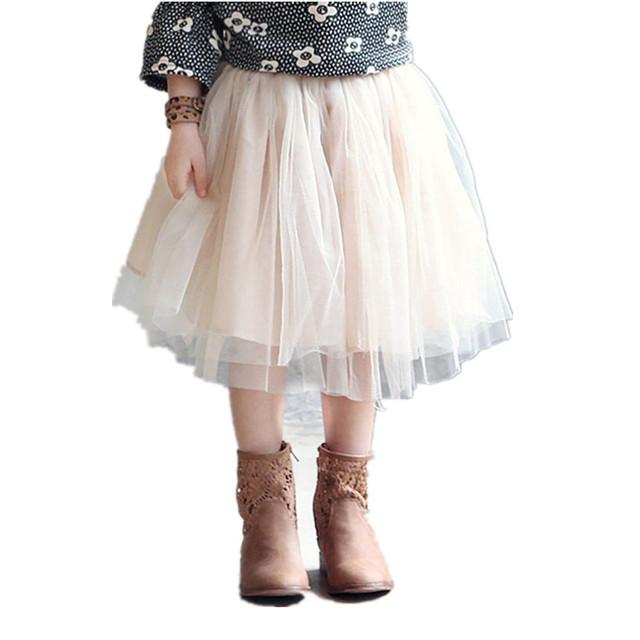 2017 nuevas muchachas del bebé del tutú niños de la falda bailan falda translúcida 3-layer neto del hilado hermoso colores girls sport falda