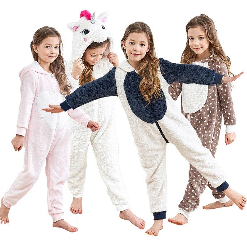 New coral fleece children pajamas boys girls clothes cute flannel childrens home service hooded cartoon children piece pajamas