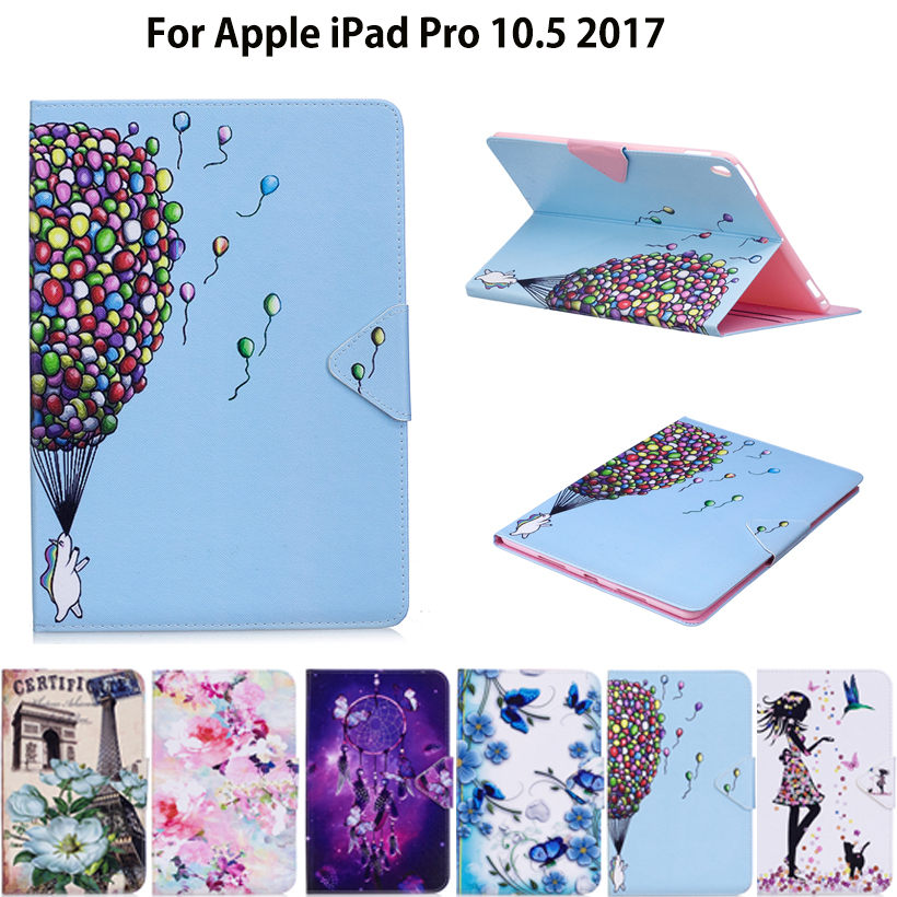 Tablet Case For Apple iPad pro 10.5'' 2017 A1701 Smart Cover Fashion Girl Cat Flip Stand Silicone  PU Leather Skin Funda shockproof case for ipad pro 10 5 military duty armor kickstand pc silicone stand cover case for apple ipad pro 10 5 inch tablet