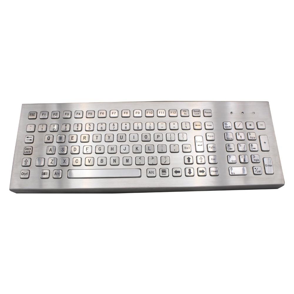 Desktop 103 Keys Metal Keyboard Stainless Steel Computer Keyboard For Industrial Kiosk ip65 kiosk metal rugged keyboard with 65 keys vandal proof stainless steel industrial keypad for ticket vending machine