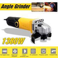 Metal Cutting Tool 220V/50Hz 1380W Electric Angle Grinder Grinding Machine 11000RPM Adjustable Anti Slip Powerful Protect