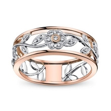 Huitan Flower Ring Band Fashion Two-Tone Design With Micro Paved Cubic Zircon Plant Women Size 6-10 Hot Selling