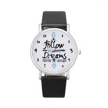 Vico 2018 New Fashion Women Watch Follow Dreams Words Pattern PU Leather Quartz Analog Wrist Watches Wholesale & Freeshipping(China)