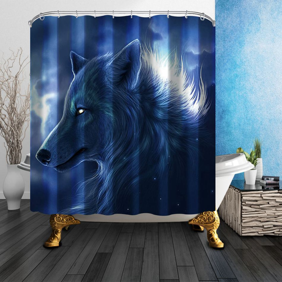 Fashion Eco Friendly Unique Wolf Modern Shower Curtain Bathroom Waterproof  For Yourself With 12 Plastic
