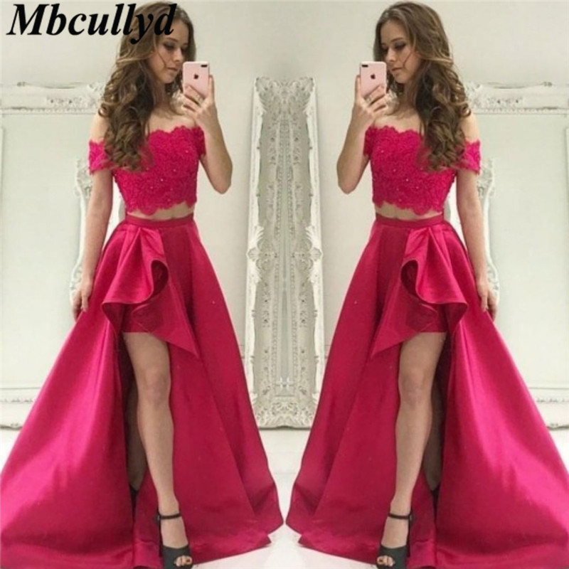 Mbcullyd Two Pieces   Prom     Dresses   2019 Lace Appliques Off Shoulder Evening Party Gowns Luxury Satin Formal Long Vestido De Festa