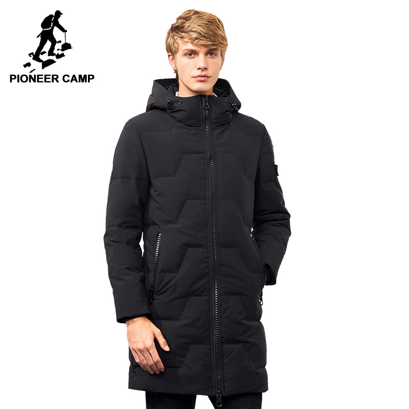 Pioneer Camp new duck down winter jacket men brand clothing long hooded warm white duck down coat male quality casual AYR701386