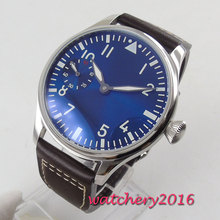 44mm PARNIS Blue Dial Stainless steel Case 17 Jewels 6497 Hand Winding Movement men's Watch все цены