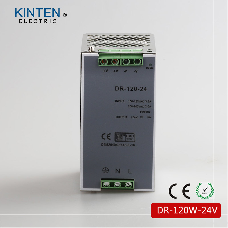 DR-120-24V CE RoHS Certificated 120w 24v 5A Din Rail Switching Power Supply SMPS For Industry equipment free shipping 24vdc 2 5a 60w din rail switching model power supply smps dr 60 24