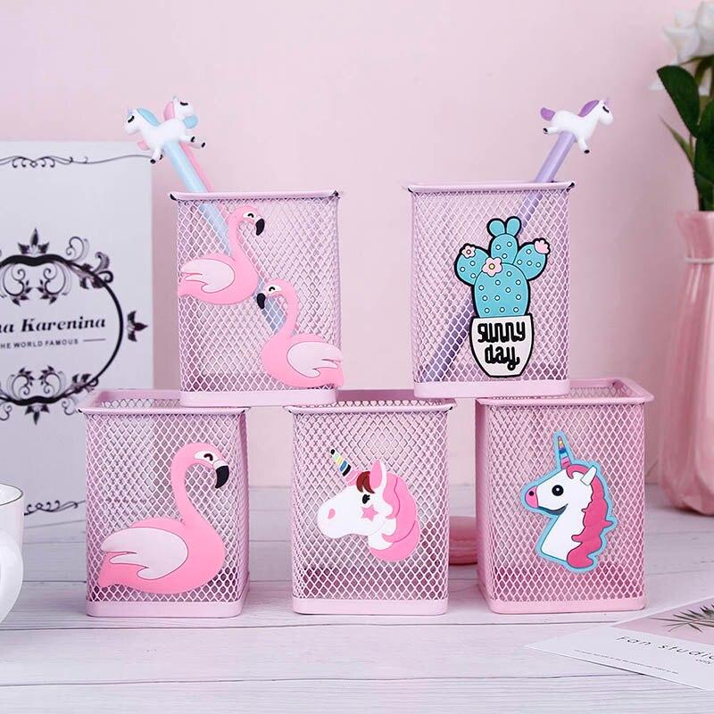 Stationery Pen-Holder Storage-Box Pencil Unicorn Flamingo Pink Office Student Home Kawaii