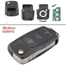 434MHz 3 Buttons Keyless Flip Remote Car Key Fob ID48 Chip 1K0959753G Fit for Caddy Sirocco Touran 2006-2011 недорого
