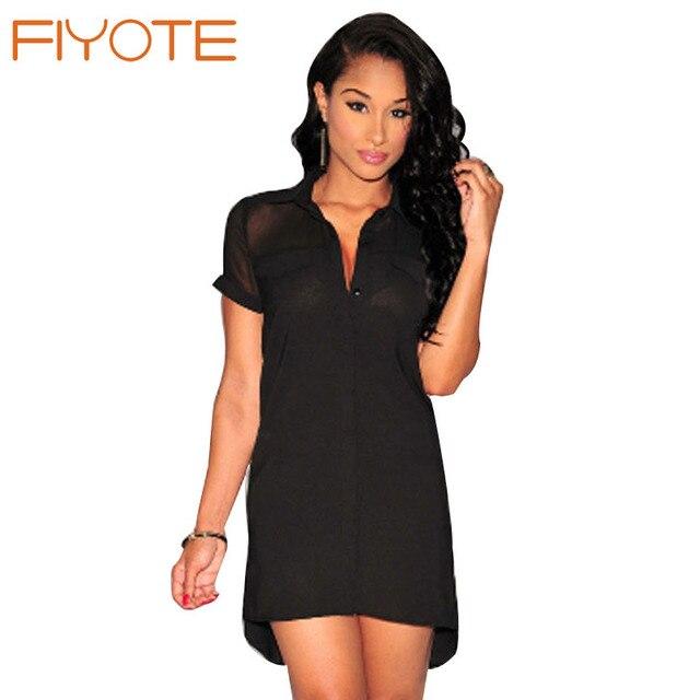 b9526d40f80 FIYOTE Womens T-shirt Summer Dresses Classic Black White Button Down  Short-sleeve Shirt Dress LC22184 Vestidos Casuales De Mujer