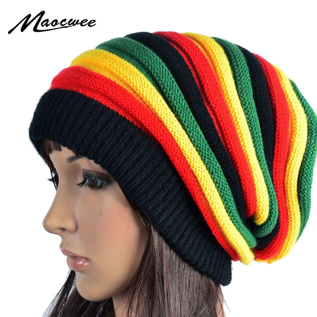 Winter Hip Hop Bob Jamaican Cap Rasta Reggae Hat Multi-colour Striped Beanie  Hats for 05fde84221c
