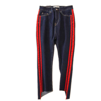 The 2017 Side Red Jeans BDF Nine Female Pants Slim Waist New Irregular Flare Burr