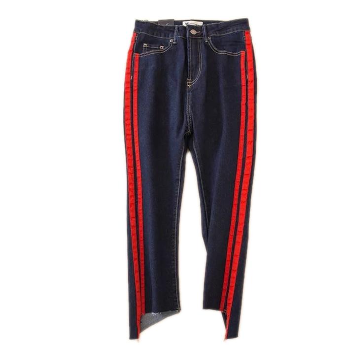 все цены на The 2017 side red jeans BDF nine female pants slim waist new irregular flare burr онлайн