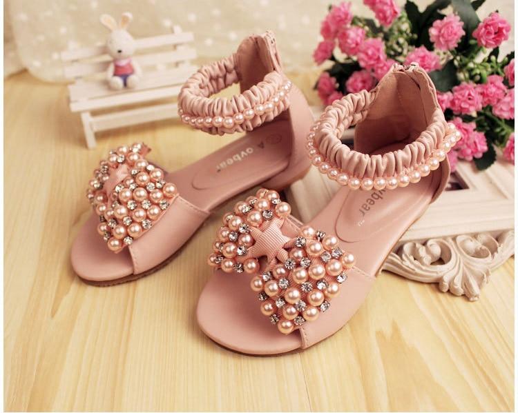 Girls Faux Pearl Rhineston Sandals Kids Summer Shoes Children Fashion Retail Wear 1AS503 08R Alovbear Eleven