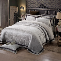Elegant Grey China Flower Egyptian Cotton Silk Bedding Sets Embroidered Jacquard Quilt Covers Queen King Sizes