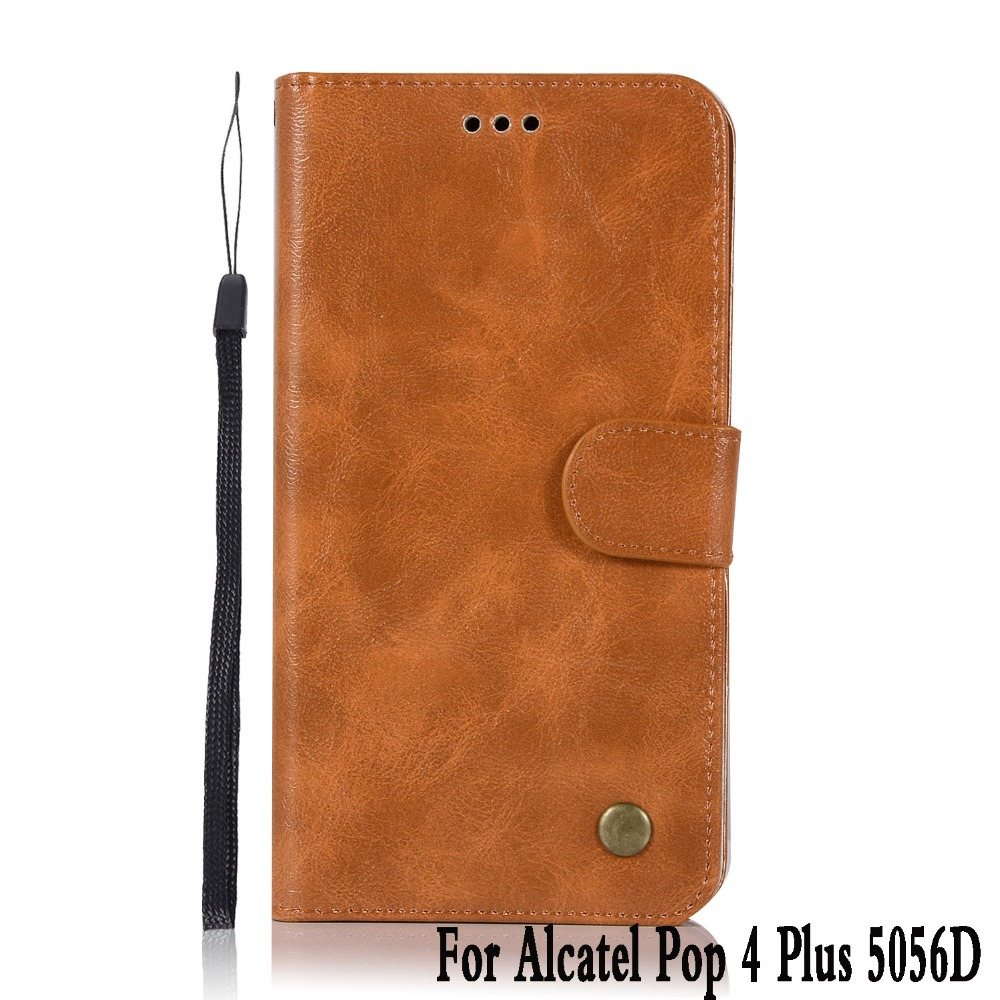For <font><b>Alcatel</b></font> pop 4 plus <font><b>5056d</b></font> case Leather silicone Vintage Stand Flip Genuine phone case For <font><b>Alcatel</b></font> pop 4 plus covers funda 5.5 image