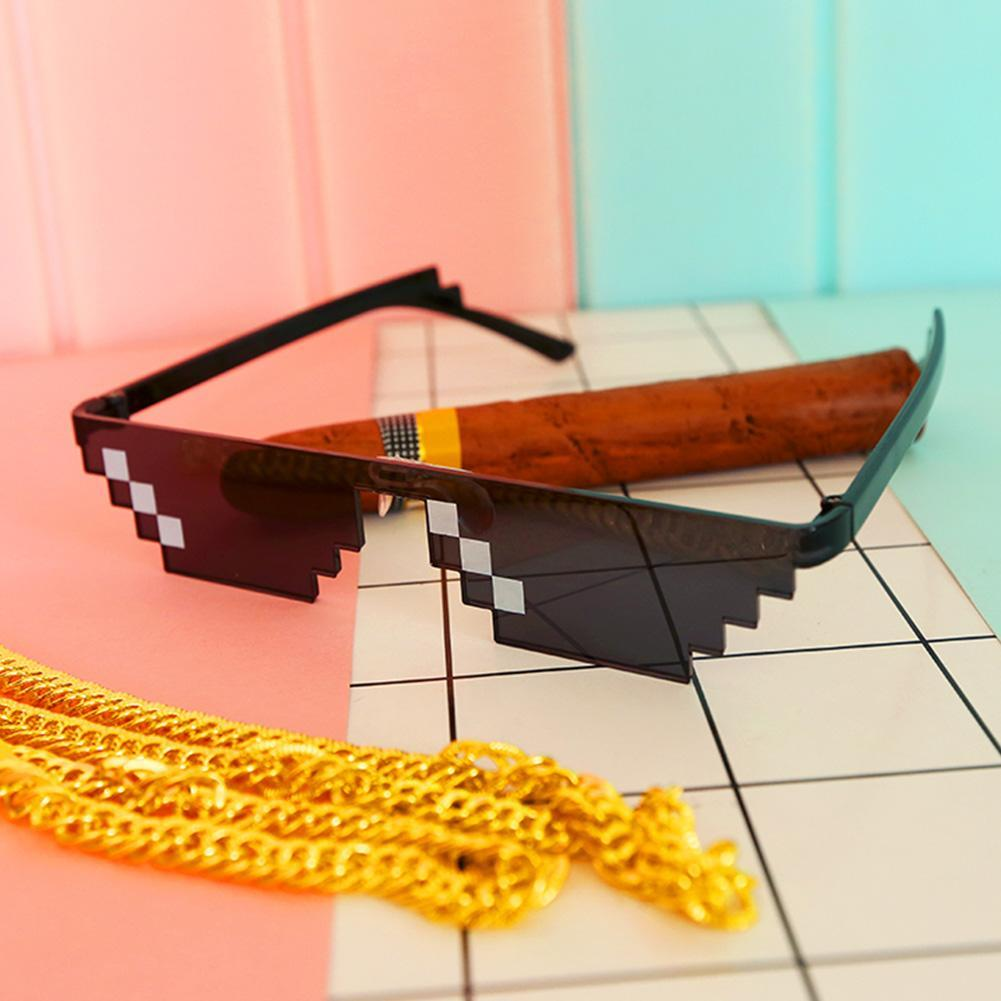 Funny Spoof Whole Person Thug Life Glasses 8 Bit Pixel Unisex Toy Sunglasses 2style To Choose Emoji Eyewear For April Fools Day Boys Costume Accessories