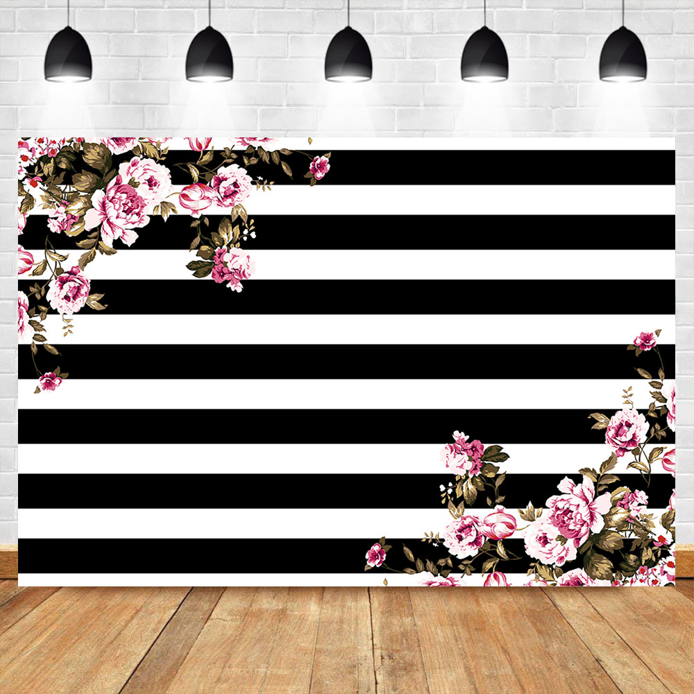 NeoBack Pink Flower Birthday Party Photo Background Watercolor Painting Floral Black White Stripe Photography Backdrops
