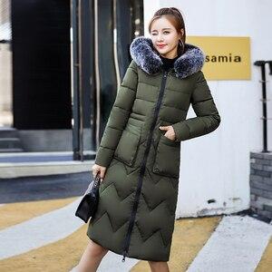 Image 2 - 両側身にすることができ2019新到着の女性の冬毛皮のフード付きでロング女性コート生き抜くプリントパーカー
