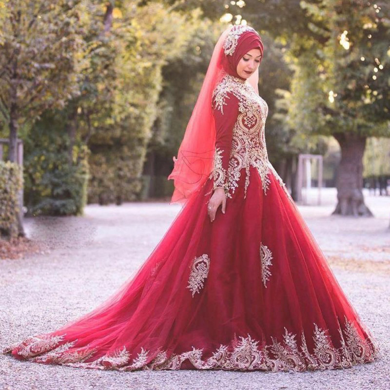 Muslim Wedding Gown Pictures: Junoesque Beads Ball Gown Wedding Dress Dark Red Tulle