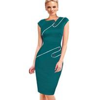 Black Dress Tunic Women Formal Work Office Sheath Patchwork Line Asymmetrical Neck Knee Length Plus Size Pencil Dress B63 B231 5