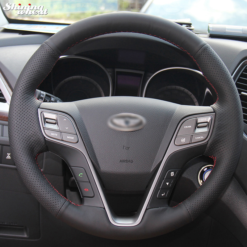 Shining wheat Hand-stitched Black Leather Steering Wheel Cover for Hyundai Santa  Fe 2013-2015
