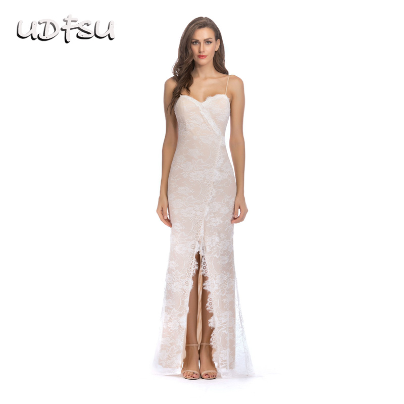 UDFSU Women Sexy Spaghtti Strap Split Evening Dress Lace Off The Shoulder Party Dresses Floor Length Backless Evening Gowns