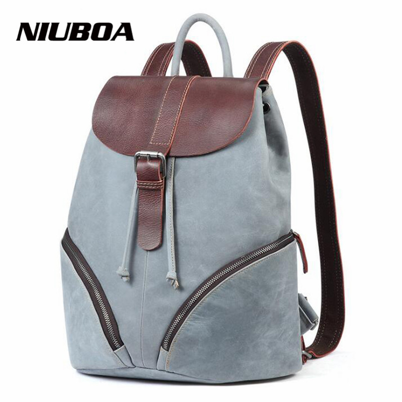 NIUBOA Women Genuine Leather Backpack Euro New Style School Bags For Girls High Quality Fashion Students Bookbag Outside Daypack