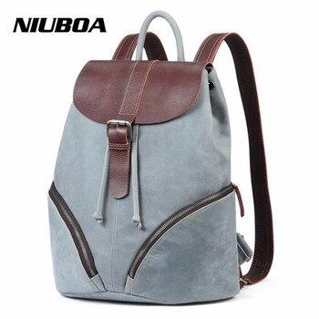 db8f65d47a4 Niuboa mujer Cuero auténtico mochila euro nuevo estilo Mochilas y bolsas  para el colegio para Niñas alta calidad moda estudiantes bookbag exterior  mochila