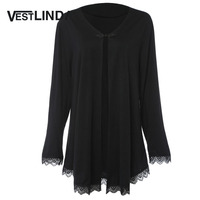 VESTLINDA Trendy V Neck Long Sleeve Lace Up Spliced Lace Open Front Women Blouse Casual Fashion