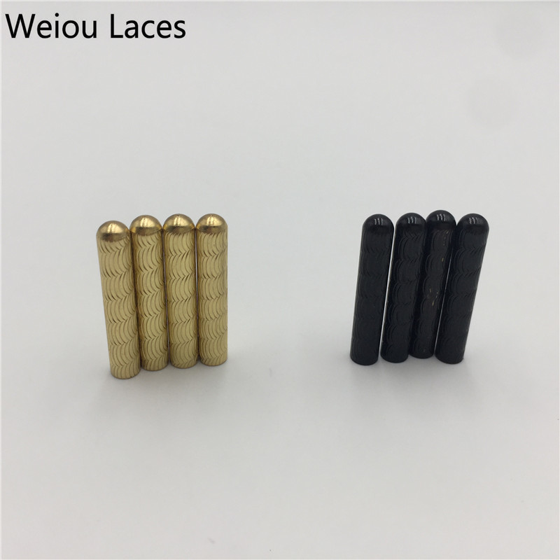 Weiou(100Pcs/25sets) Hot Gold Black Shoelace Aglets 4.0x22mm Seamless Sneaker Kits Repair Shoestring Accessory Clothes Tips DIY