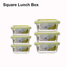 Glass Square Meal Prep Containers Lunch Box BPA-free Airtight Food Storage box 100% Leak Proof Locking Lids Microwave Freezer
