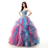Backlackgirl Hot Colorful Quinceanera Dress 2018 Ball Gown Puffy Sweetheart Beaded Crystal Floor Length Long Prom
