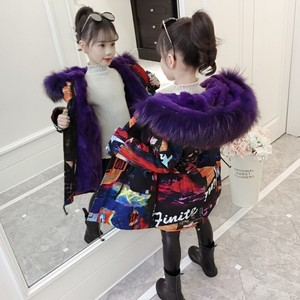 Image 3 -  30度2020新ガール服ロングが詰め服冬ジャケット子供暖かい厚みのフード付きフェイクファーコートティーン生き抜くパーカー