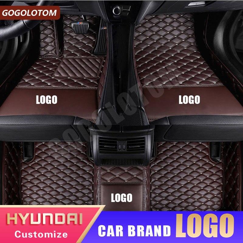 Tapis de sol de voiture sur mesure en cuir de luxe étanche Hyundai Solaris Creta Elantra Santa Fe Tucson Getz Ix25 Auto accessoires tapis