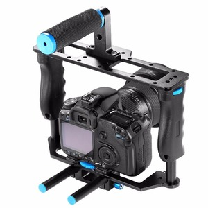 Image 4 - אחיזה כפולה DSLR מצלמה כתף Rig סרט סרט ערכת מערכת וידאו לחיצת יד תמיכה כלוב עבור Canon Nikon Sony מצלמות BMCC panasonic