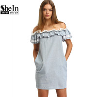 SheIn New Woman Dress 2016 Summer Fashion Blue Off The Shoulder Flounce Striped Pockets Casual Straight