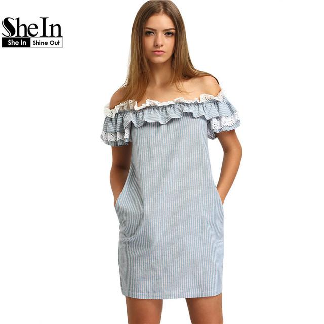 SheIn Novo Vestido de Mulher Moda Verão 2016 Azul Fora Do Ombro Babados Listrado Pockets Casual Mini Vestidos Retos