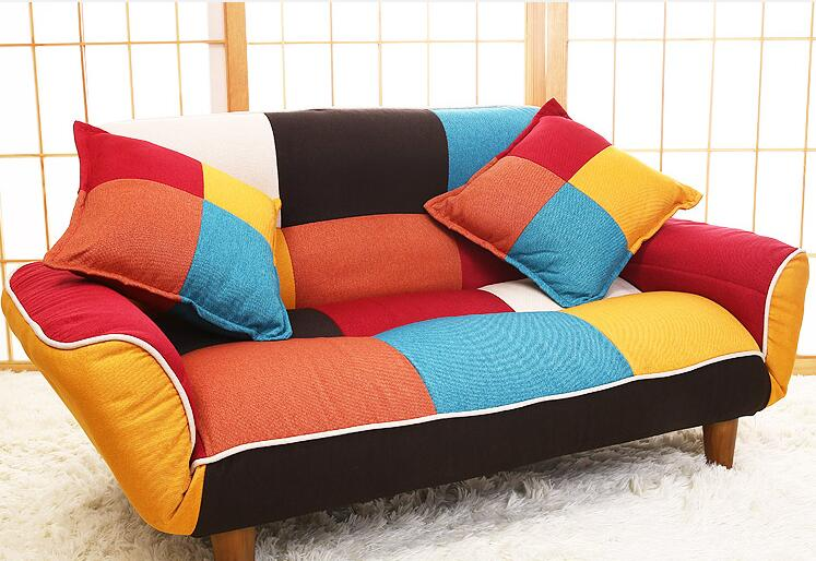 Adjustable Sofa and Loveseat in Colorful Line Fabric Home Furniture Fold Down Sofa Couch Ideal for Living Room, Bedroom, DormAdjustable Sofa and Loveseat in Colorful Line Fabric Home Furniture Fold Down Sofa Couch Ideal for Living Room, Bedroom, Dorm
