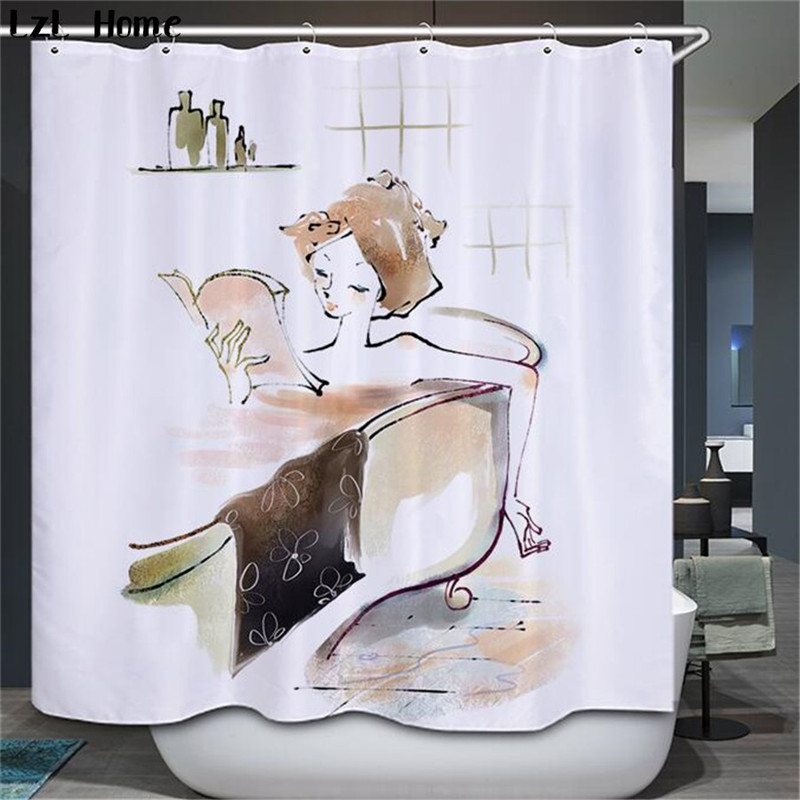 Lzl home hot fashion 3d bathroom sexy beauty pattern - Rideau de douche polyester ...