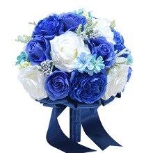 Best Bride bouquet Artificial Flowers Royal Blue Silk Rose Set Wrist Flower Boutonniere Wedding Bridal Bouquet