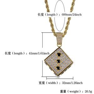 Image 5 - Topgrillz 光沢のある正方形のサイコロペンダントネックレス銅金銀色アイスアウト立方ジルコン男性ヒップホップジュエリーストリート danc ギフト