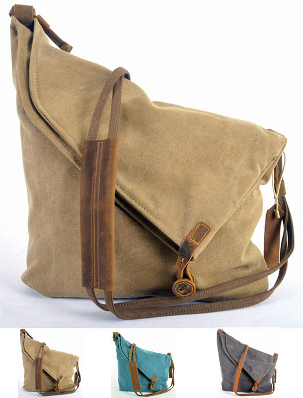 Retro 2018 New Leather Military Canvas Men S Messenger Bag Women Shoulder Crossbody Cotton