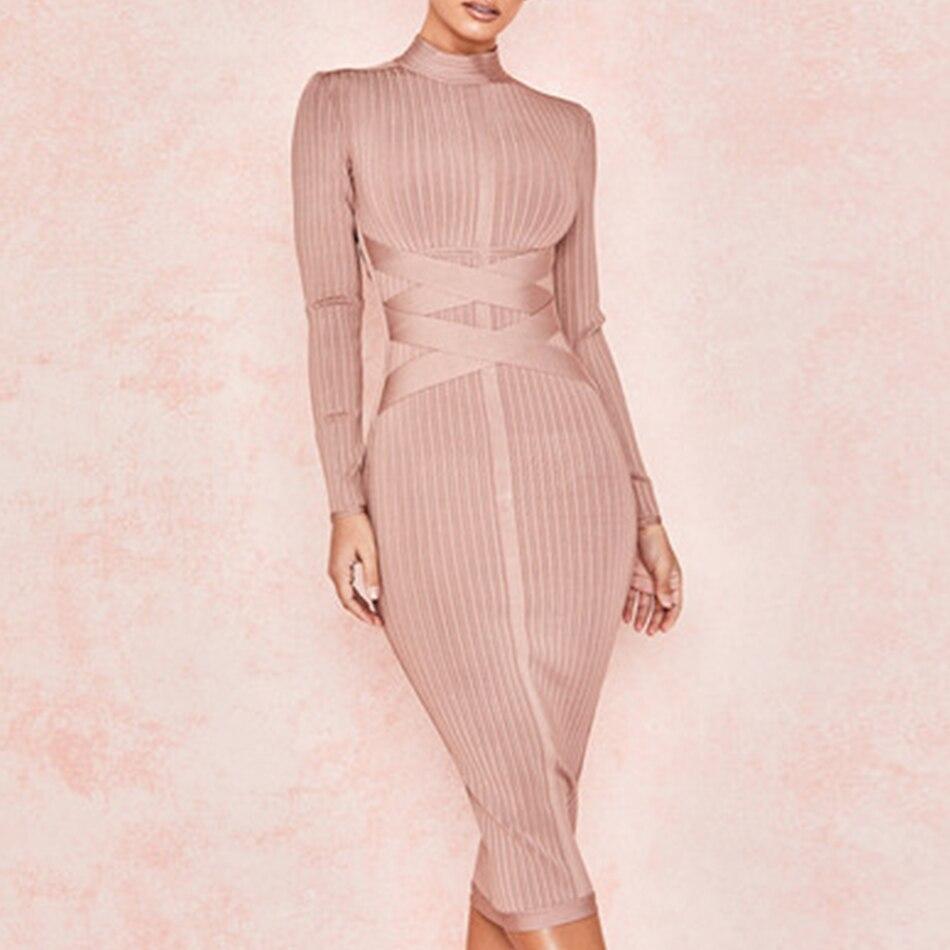 Adyce 2019 Nouveau Printemps Moulante robe lacée Femmes Sexy Nude à manches longues Midi robe de club Robes de Soirée De Célébrité robe de fête