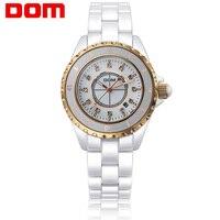 DOM 여성의 럭셔리 브랜드 손목 시계 여성 방수 스타일 석영 세라믹 간호사 여자 여성 시계 시계 새로운 T598