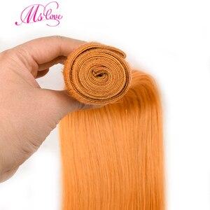 Image 3 - Pre colored orange hair bundles with closure 스트레이트 24 26 28 30 레미 브라질 인간의 머리카락 3 4 묶음 MS love
