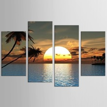 HD Print 4 pcs art Sunset sea beach painting Home Wall Decor Painting on canvas print landscape picture
